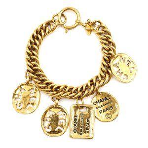 Gold Cc Charms Cutout Cuff Bracelet